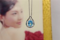 Colar S925 Sterling Silver Jewelry Pendente Display The Hollow Out Blue Crystal Acessórios exclusivos no casamento e Py