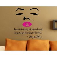 Wholesale Marilyn Monroe Wall Lips - Marilyn Monroe Wall Decal Removable Art Home Decor Quote Face Red Lips wall sticker Large Nice Sticker 8002 Free shipping