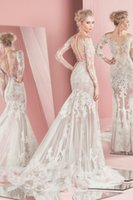 Wholesale Sleeved Lace Backless Wedding Dress - Spring Summer Zuhair Murad Wedding Dresses 2016 New Illusion Bodice Sheer Skirts Long Sleeved Wedding Dress Latest Mermaid Wedding Gowns