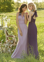 Wholesale Black Band For Wedding Dress - V Neck Country Bridesmaid Dresses 2015 with Waist Band Backless Wedding Party Dresses For Bridesmaid Pleated Bridesmaids Gowns