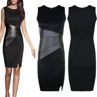 Wholesale Cocktail Dresses S - S5Q Womens Black OL Work Dress Bodycons Sexy Sleeveless Party Evening Cocktail Mini AAAEKO