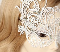 Wholesale Sexy Bobby - Wholesale-Womens Sexy Gothic Rhinestone White Lace Masquerade Face Eye MASK Hair Bobby Pins Patch Phantom Party Mardi Gras Dance Accessory