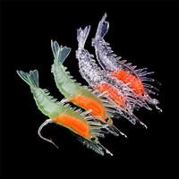 Wholesale Soft Lures Noctilucent - 2016 4Pcs Silicone Simulation Noctilucent Soft Prawn Shrimp Fishing Lure Hook Bait#45662