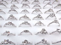 Wholesale Cheap Rhodium Plated Rings - 2016 new Cheap Hot Sale 100pcs Wholesale Jewelry Lots Cubic Zircon Women Silver P Fashion Rings A-165