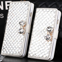 Le moins cher Galaxy S7 Edge Luxury Diamant Cell Phone Case Cover Flip Stand cas de couverture pour Iphone 7 6s i7 plus 5 5C SE S6 S5 Note 5 DHL gratuit 20