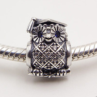 Wholesale Sterling Silver Necklace Owl - 100% 925 Sterling Silver Owl Charm Bead with Blue Cz Fits European Pandora Jewelry Bracelets & Necklaces