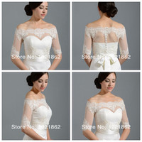 Wholesale Dress Wraps Shrugs - Off Shoulder Alencon Lace Bolero Jacket Illusion Half Sleeve Covered Button Jackets Bridal Shrug Bride Wraps Wedding Dress accessories Shawl