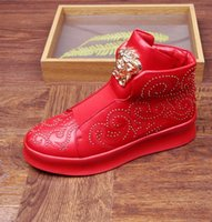 Wholesale Black Studded Platforms - 2017 Hot sales Luxury Design High Quality Men Rivet Casual Shoes Zapatillas Hombre Fashion Platform Men Shoes studded shoes M36