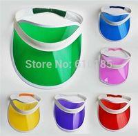 Wholesale Cap Plastic Peaks - Wholesale-Neon sun visor peak cap plastic visor sun hat rave festival fancy dress poker headband