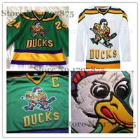 venta de camisetas de hockey en blanco al por mayor-Venta caliente para hombre Anaheim Mighty Ducks 24 Peter Mark Jersey VERDE Jerseys de hockey sobre hielo Película D-5, en blanco / descuento personalizado Jerseys de hockey sobre hielo