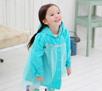 frozen princess raincoat achat en gros de-Manteau Frozen Mode Bébés filles Vêtements Snow Queen Elsa Bleu Gauze Princesse Raincoat Jacket
