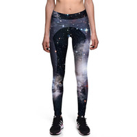 Wholesale Girls Galaxy Leggings - 2017 New 0031 Fashion Star sky Galaxy Black Prints Sexy Girl Pencil Yoga Pants GYM Fitness Workout High Waist Women Leggings