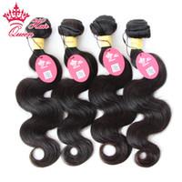 peru saç ürünleri vücut dalgası toptan satış-Kraliçe Saç Ürünleri Perulu Bakire Vücut Dalga 4 adet / grup 100 g / adet (12