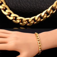 Wholesale Gold Cuban Link Chain Men - Hot Cuban Link Chain Necklace Bracelet Three Color 18K Real Gold Rose Gold Platinum Plated Fashion Design Men Jewelry Chunky Accessories