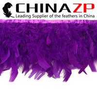 Wholesale CHINAZP Crafts Factory yards cm inch in Width Gorgeous and Graceful Dyed Purple Turkey Chandelle Feather Fringe Trim