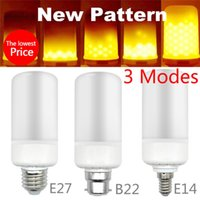 Wholesale E27 5w Corn - E27 E14 B22 SMD2835 5W 3 Modes LED Flame Effect Bulb Flickering Emulation Decorative Flame Lamps For Christmas Halloween Decoration