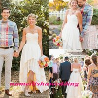 Wholesale Short Taffeta Wedding Dress Sweetheart - Simple Beach Country Wedding Dresses 2016 Cheap Lace Bohemian Western Ivory High Low Backless Short Front Long Back Modest Bridal Gown 2015