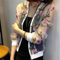 Wholesale Chiffon Floral Short Coat - Wholesale-2015 Summer Cardigan Silk Chiffon Jacket Sun Protection Clothing Casual Ultra Thin Chiffon Shirt Air Conditioning Coats QL953