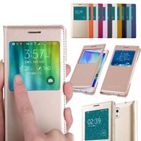 Wholesale S4 Flip Original - For Samsung Galaxy S6 S5 S4 A8 A7 A5 A3 Note 5 4 3 Original Housing Flip Cover View Folio Smart Touch Case With Open Window Wakeup Sleep