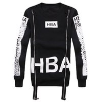 Men spring air hoods - Spring Autumn Men HBA Sweatshirt O neck Double Zipper Personality D Printed Fleece Hip Hop Hoodies Mens Hood By Air Tracksuits
