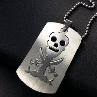 Trendy Dog Tag Gravado Pingente Pendant Necklace Moda Stainless Steel Pirates Logo Jewelry Free 50cm Ball Chain