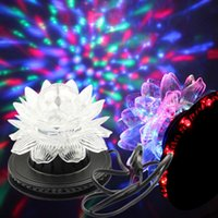Atacado-TOPLED 100-240v 3W Full Color Mini Lotus Rotating RGB Luz de Palco 48 LEDs LED girassol Stage Luz para DJ Disco Lamp