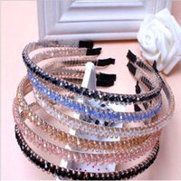 Wholesale Wholesale Girls Hair Beads - 2016 Korean New Beading Crystal Girl Women Headband 3 Rows beads Hairbands Fashion Headwear Hair Accessories