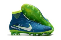 Wholesale Turf Superflys - Boys Superflys Neymar FG IC Indoor Soccer Shoes TF Turf CrIStiAnO RoNaLdO Cr7 indoor Shoes High Ankle Boots Mens soccer cleats