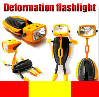 Wholesale Small Led Work Lights - Deformation Robot Flashlight Kid's Toy for Christmas Gift Small Night Light Mini Portable Torches Deformation Toys Torch Light