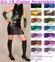 meias de vestido bodycon venda por atacado-Mulheres sexy vestidos de festa 15 cor brilhante metálico dress sexy mulheres saia vestidos com meias halloween party fancy dress cosplay terno p103