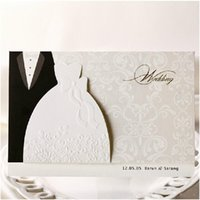 Wholesale Dress Style Invitation - 2016 New Personalized Design White The Bride and Groom Dress Style Invitation Card Wedding Invitations Envelopes Sealed Card Top Quality