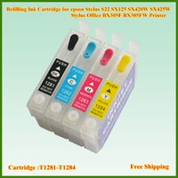 Wholesale Epson Stylus Office Ink - T1281 T1282 T1283 T1284 Empty Refillable Ink Cartridge For Eposon Stylus S22 SX125 SX420W SX425W Stylus Office BX305F BX305FW Printer