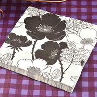 Wholesale Hotel Tissue - 40 napkins table paper napkins tissue flower bird black and white vintage printed decoupage home bar hotel wedding party festive decorative