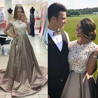 Chic Cap Sleeves Ivory Lace Evening Dress Beaded Satin A-Line Prom Dresses Formal Cheap Graduation Party Vestidos Cocktail Party Dress