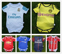 Wholesale Famous Babies - 17 18 Real Madrid baby jersey 1-2 years old Baby jersey Ronaldo Famous teams Little shirt Football Boys Girls Small 6-8 month Free shipping