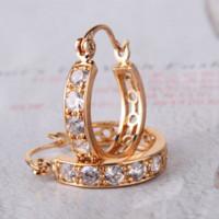 Wholesale Jade Earrings White Gold - Elegant Jewelry AAA CZ 18k Gold Plate Earrings Fashion Design Hoop Earrings Silver Charms Earrings for Women Free Shipping E140b