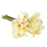 Wholesale Calla Lily Wholesale Wedding - 20 Pcs lot 5 Colors Calla Lily Bridal Wedding Bouquet Head Latex Real Touch Artificial Flower Decor Free Shipping