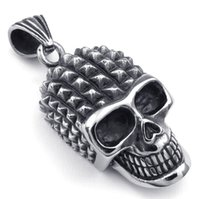 Wholesale Silver Biker Necklace - Hot! Classic Design Black Silver Pock Head Skull Pendant Rock Punk Stainless Steel Biker Men Jewelry Wholesale + Free Shipping