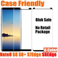 Wholesale Notes For Sale - Bulk Sale Case Friendly 3D Glass For Samsung Galaxy Note8 Note 8 S8 S8Plus S7Edge S6Edge Case Version 3D Curved Tempered Glass Film