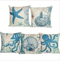 Wholesale Coral Cushions - 45*45CM Cushion Case Marine Coral Starfish Seahorse Pillow Case Cushion Cover Linen Cotton Throw Pillowcases Sofa Car Decorative Pillowcover
