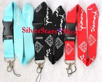Wholesale custom neck lanyards - Wholesale New fashion Diamond Logo custom lanyard Key Chain Cell Phone lanyards Strap Neck Pass Logo Keychain ID holders-blue black red