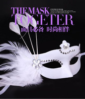 Wholesale princess face painting resale online - 2016 New Masquerade Mask performance show Runway Venice painting mask feather white beauty princess Christmas Halloween party hot