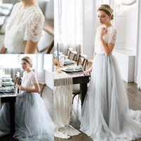 korse etek gelin elbiseleri toptan satış-Ülke Stil Bohemian Gelinlik Modelleri Üst Dantel Kısa Kollu Illusion Korse Tül Etek Hizmetçi Onur Düğün Konuk Parti törenlerinde
