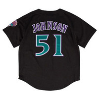 Wholesale Polyester Batting - Men's Randy Johnson Black Fashion Cooperstown Collection Mesh Batting Practice Jersey