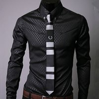 Wholesale Single Clothing Plus Size - Classic Dress Shirts Shadoweave Plaid Single-breasted Long Sleeve Casual Men Clothing Spring Autumn Shirts Turn-down Plus Size