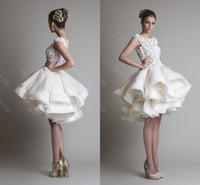 Wholesale Knee Length Tiered Dresses - 2015 Vintage Short Ball Gown Wedding Dresses Krikor Jabotian Cap Bateau Lace Tiered Knee Length Short Party Cocktail Dress Bridal Gowns