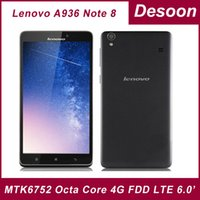 Wholesale Lenovo 8gb Rom Phone - 2G ram 8G rom Original Lenovo A936 Note8 Note 8 MTK6752 Octa Core Android 4.4 6.0'' Screen GPS 13MP Dual 4G FDD LTE Mobile Phone