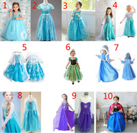 Wholesale American Child - 10 Design Girls Frozen Lace Dress  girls dresses children lovely Princess Elsa & Anna Lace dress B001
