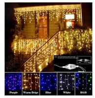 Wholesale Heart Decoration Lights - Curtain Icicle Led String light Christmas Light 4m Droop 0.4-0.6m Outdoor Decoration 220V 110V led holiday light New Year Garden Wedding