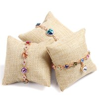 Jute Pillow Display Vintage Bracelet Bangle Watch Jóias Stand Suporte de linho